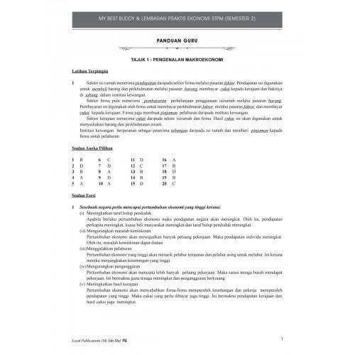 Panduan Guru My Best Buddy & Lembaran Praktis Ekonomi STPM (Semester 2)