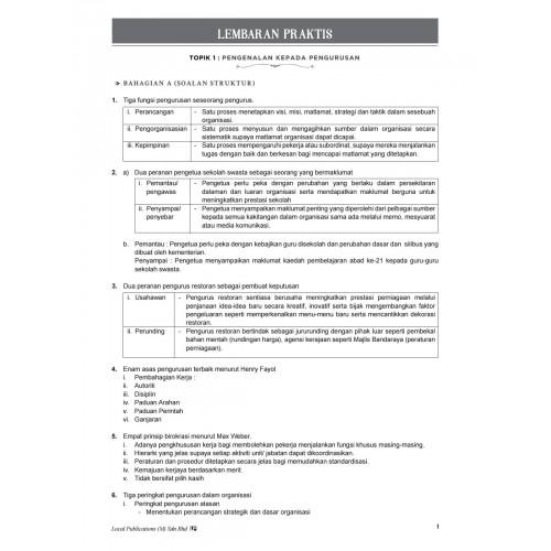 Nota Pembelajaran & Lembaran Praktis Pengajian Perniagaan (Pengurusan) Panduan Guru STPM (Semester 2)